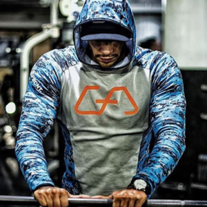 Кофта MUSCLE FIT HOODIE 2.0 MALIBU BLUE CAMOUFLAGE | GYM AESTHETICS
